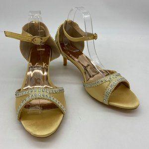 Yellow  Peep Toe Rhinestones Crystal Studs  Sandal